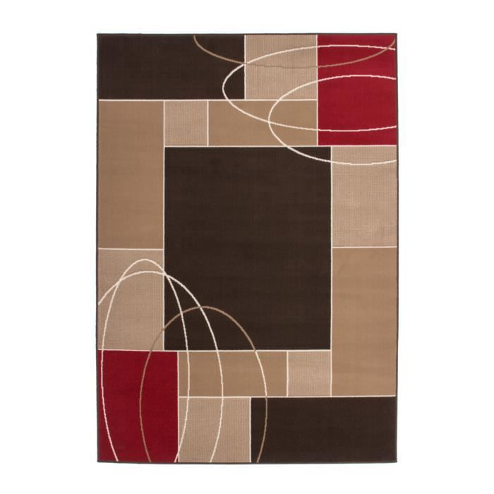 Tapis de salon avec moulure 10 mm marron rouge blanc for Tapis rouge avec canapé 145 cm