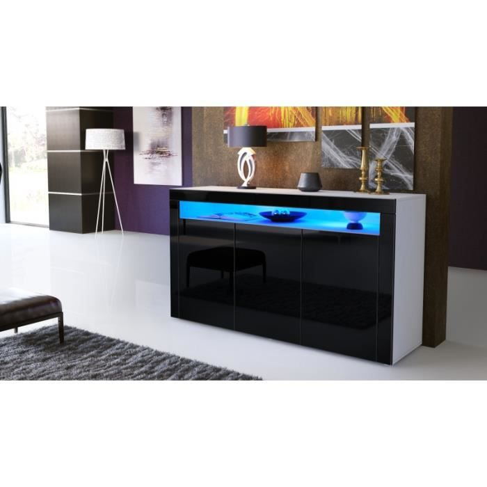 buffet enti rement laqu blanc et noir avec led achat vente buffet bahut buffet. Black Bedroom Furniture Sets. Home Design Ideas