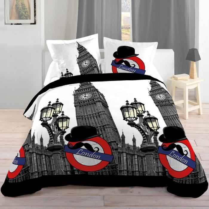 parure de lit london 140 x 200 cm achat vente parure de drap cdiscount. Black Bedroom Furniture Sets. Home Design Ideas