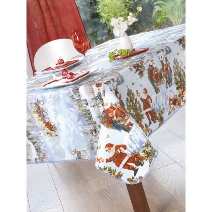 Nappe en toile cir e rectangulaire 140x200 cm p re no l for Toile ciree pour table de jardin