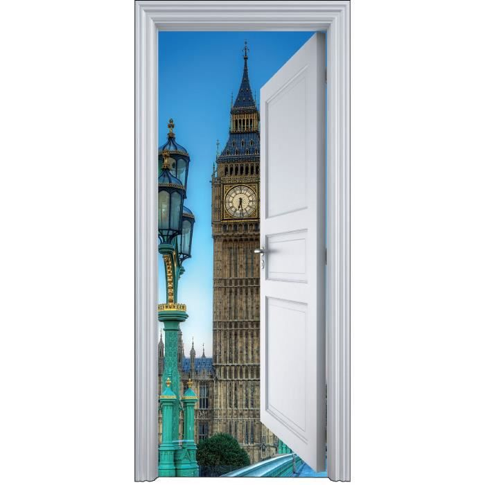 Sticker porte trompe l oeil londres big ben 90x200cm Stickers porte interieure maison