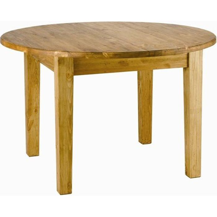 Table ronde rustique 120 cm rallonge 40 cm achat for Table ronde a manger