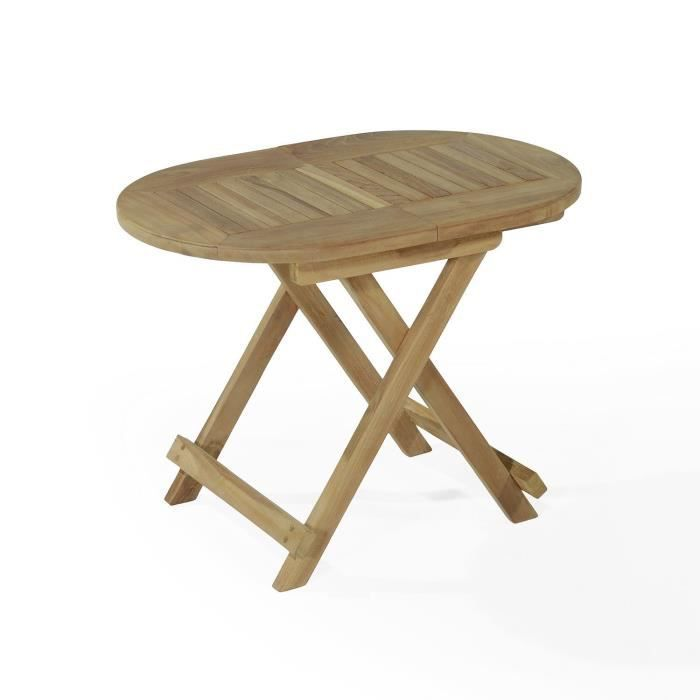 Table Basse En Teck Ovale Pliante 60x40 Cm Achat Vente Table Basse Jardin Table Basse Ovale