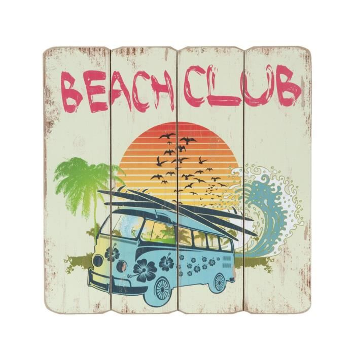 panneau bois beach club surf neuf deco murale 40x40cm ambiance plage combi vw achat vente. Black Bedroom Furniture Sets. Home Design Ideas