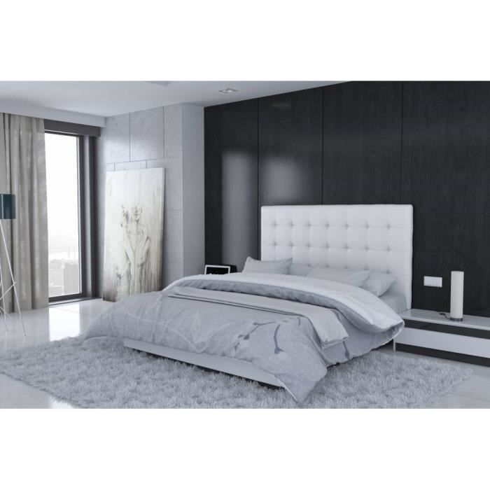 t te de lit en pu blanc rome taille 140 cm achat. Black Bedroom Furniture Sets. Home Design Ideas