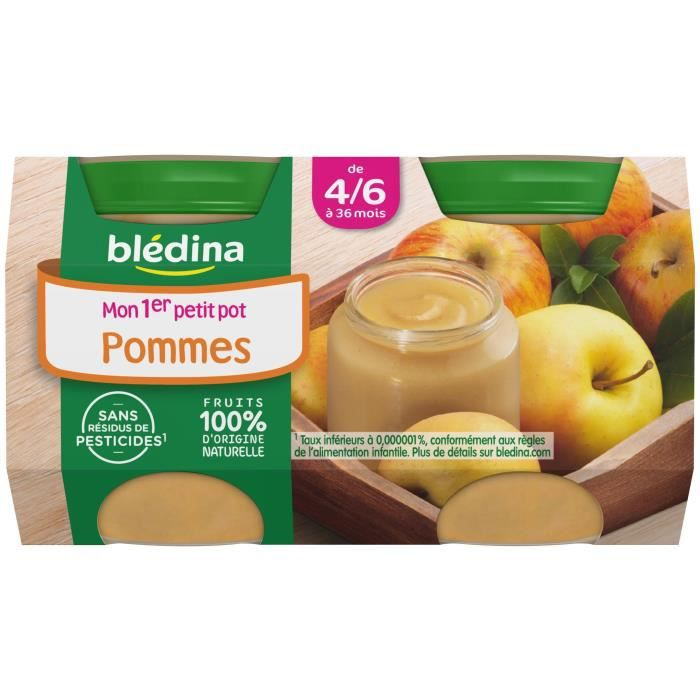 bledina mon 1er petit pot pomme 2x130 g d s 4 6 mois achat vente dessert fruits b b. Black Bedroom Furniture Sets. Home Design Ideas