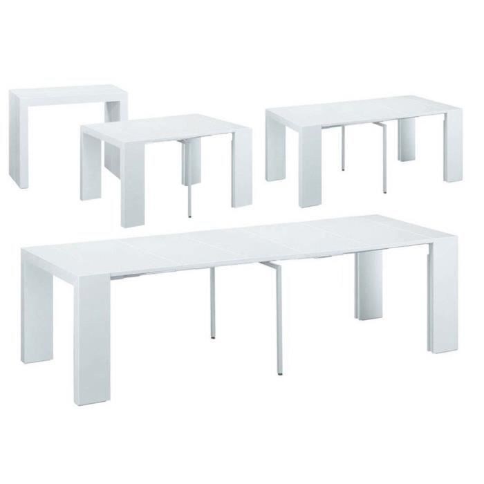 Table console extensible elsa 300 50 x 94 x 75 cm blanc achat vente console extensible for Table 300 cm