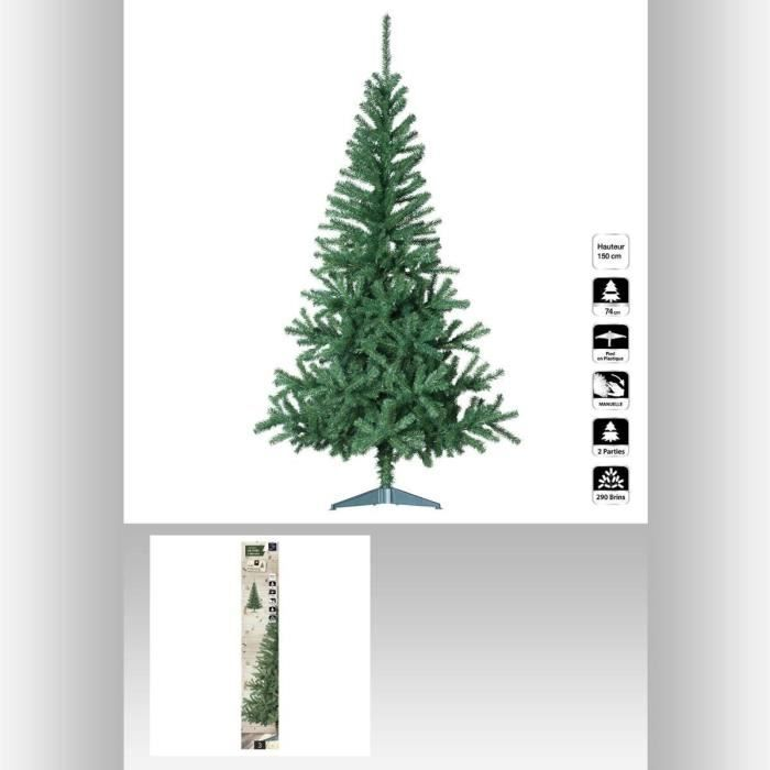 sapin de noel artificiel seasons vert 150 cm achat vente sapin arbre de no l carton pvc. Black Bedroom Furniture Sets. Home Design Ideas