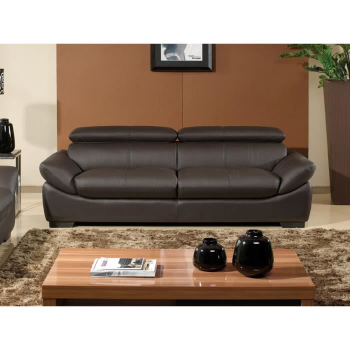 canap cuir 3 places chocolat borneo achat vente canap sofa divan cdiscount. Black Bedroom Furniture Sets. Home Design Ideas