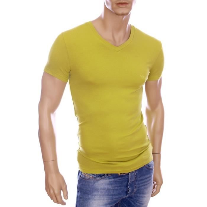 armani t shirt homme slim fit stretch vert col v 110810 5a745 vert achat vente t shirt. Black Bedroom Furniture Sets. Home Design Ideas