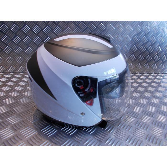 MTTKTTBD Bluetooth Casque Moto Jet,Professionnel Casques Moto avec Anti-bu/ée Double Visi/ère pour Adultes,Casques Motocross avec Microphone Int/égr/é pour R/éponse Automatique