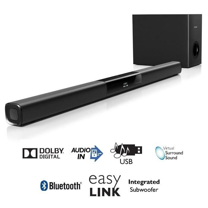 philips htl2163 barre de son 120w bluetooth hdmi barre. Black Bedroom Furniture Sets. Home Design Ideas
