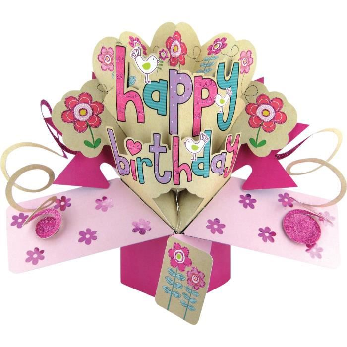 carte joyeux anniversaire fille Second Nature Carte d'anniversaire pop up pour fille Motif Happy