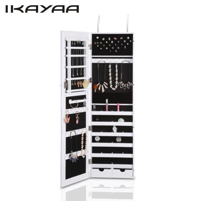 ikayaa armoire bijoux murale porte avec grand miroir. Black Bedroom Furniture Sets. Home Design Ideas