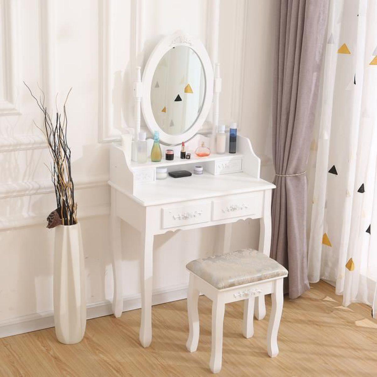 Coiffeuse blanche avec miroir et tabouret pour chambre des ...