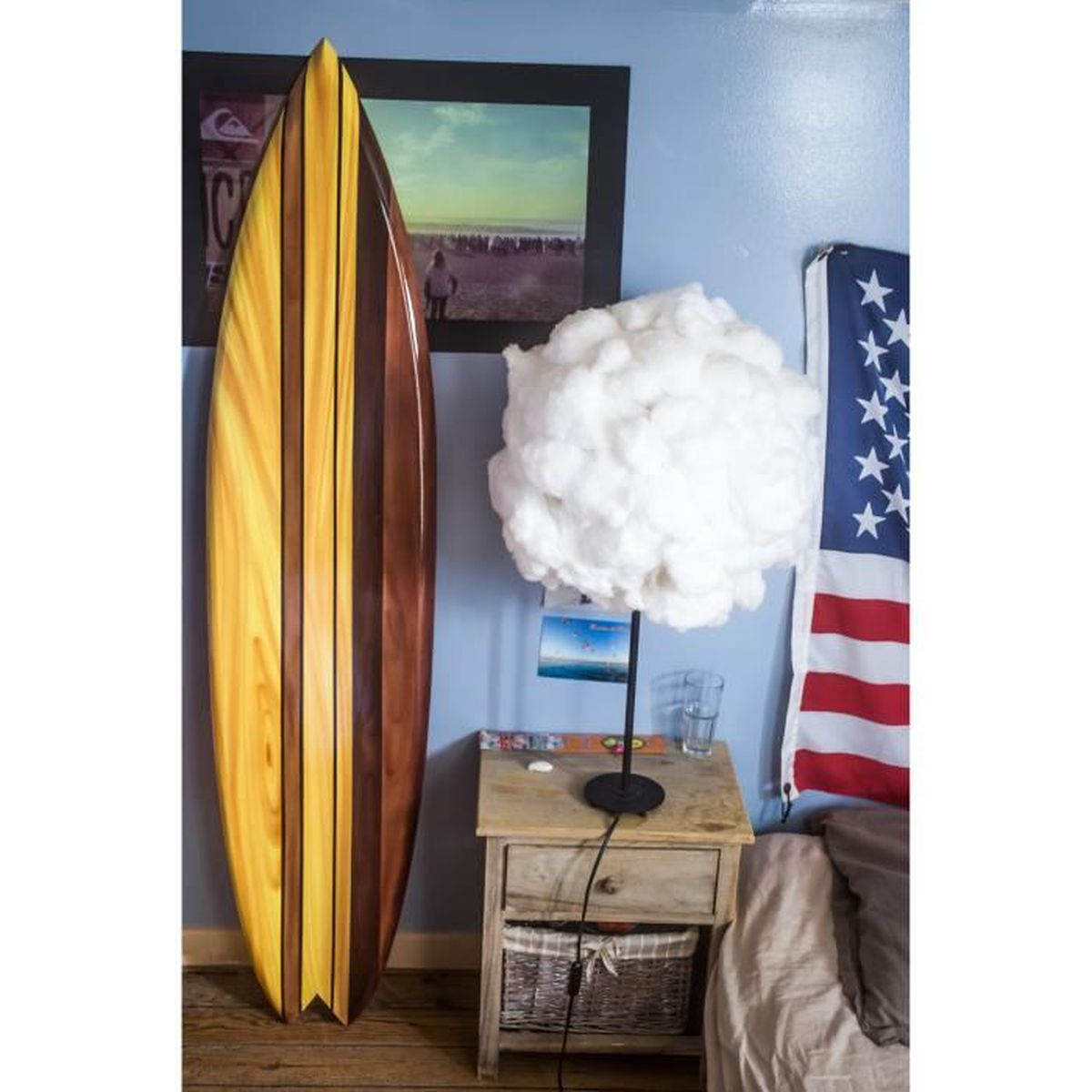 planche de surf vintage en bois 1m50 achat vente objet d coration murale cdiscount. Black Bedroom Furniture Sets. Home Design Ideas