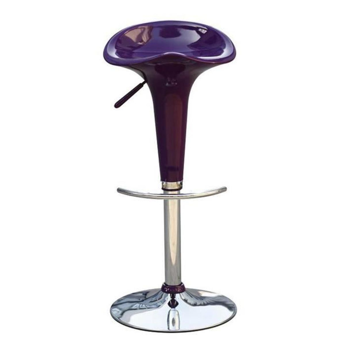 tabouret de bar avec si ge en plastique coloris violet 37 x 37 x 87 cm ac. Black Bedroom Furniture Sets. Home Design Ideas