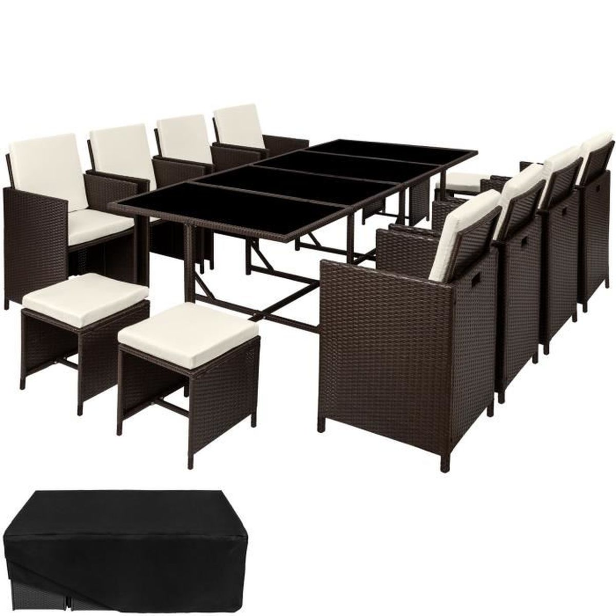 salon de jardin palma ensemble avec 8 chaises 4 tabourets. Black Bedroom Furniture Sets. Home Design Ideas