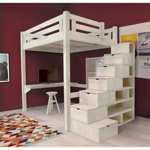 lit mezzanine alpage bois escalier cube hauteur r glable teint blanc 120x200 achat. Black Bedroom Furniture Sets. Home Design Ideas