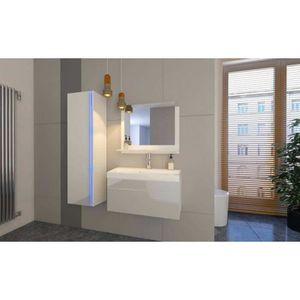 MEUBLE VASQUE - PLAN Meuble salle de bain EMERENCE Blanc laqué