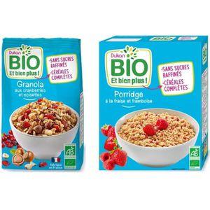 CÉRÉALES PETIT DEJ  Lot de 2 -1 Porridge fraises framboise Bio 300g +