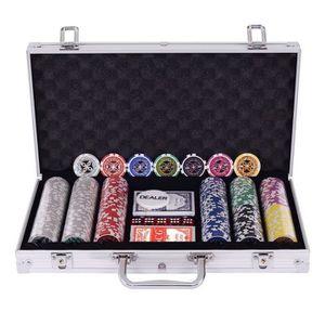 MALETTE POKER COSTWAY Malette Poker Jetons Poker Ensemble de 300