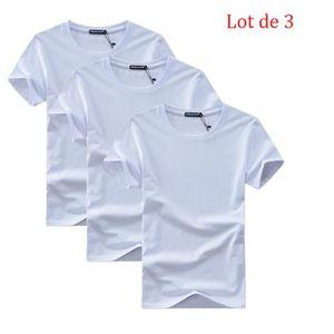 T-SHIRT Lot de 3 T shirt Homme Encolure Arrondie T Shit Ho