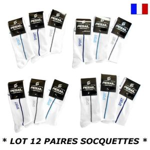 CHAUSSETTES LOT 12 PAIRES SOCQUETTE TAILLE 43 44 45 46 INVISIB