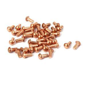 Sourcing map Lot de 200 rivets creux en cuivre avec trou traversant