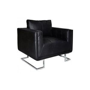 FAUTEUIL Superbe Luxueux Fauteuil Cube en cuir Noir