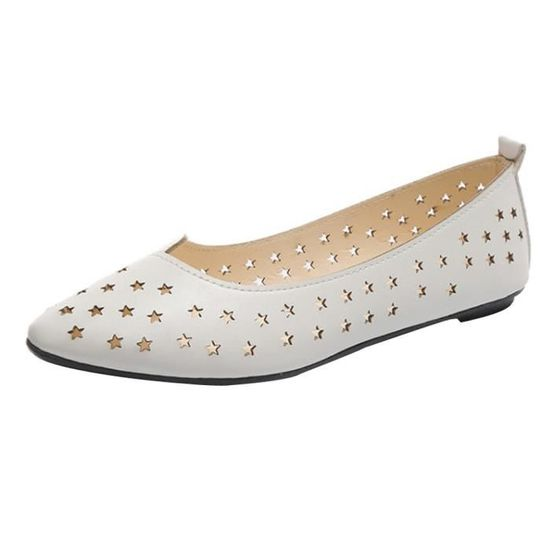 Toe femmes Flats Pionted Slip-on creux Chaussures confortables Casual Shoes Lazy HX3279 blanc Blanc Blanc - Achat / Vente slip-on