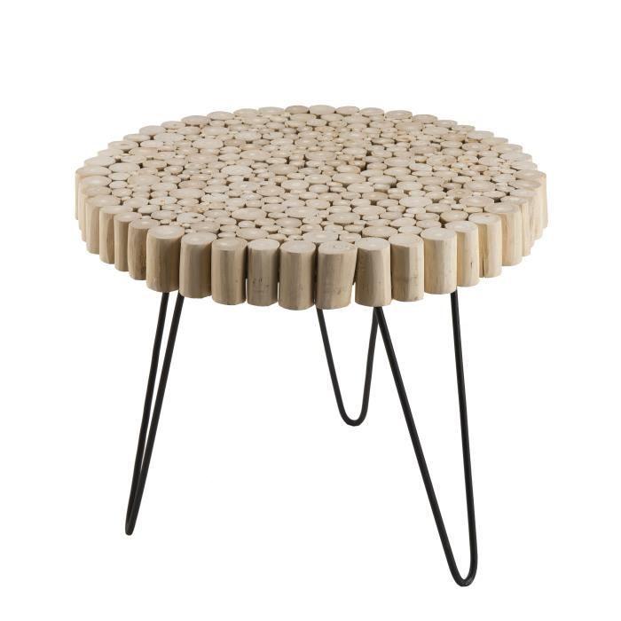 Table d'appoint ronde ethnique en bois teck massif naturel - Pieds épingles scandi en métal - Ø55 cm