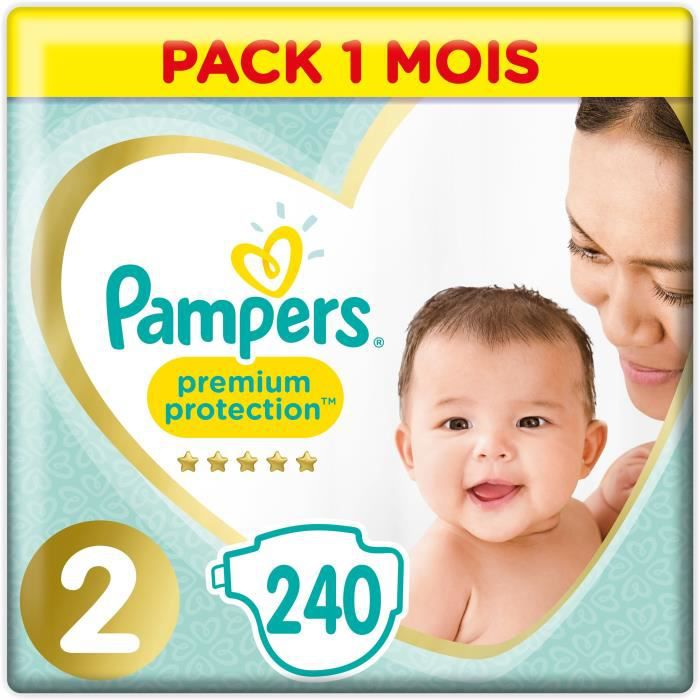 PAMPERS New Baby Taille 2 - 4 à 8kg - 240 couches - Format pack 1 mois