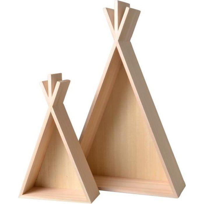 Étagère en bois Tipi 2 pièces - Artémio Beige