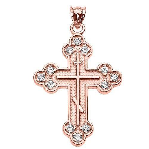 Chaine De Cou Vendue Seule J98IK Femmes en or 10k Rose Cz Croix orthodoxe orientale Pendentif