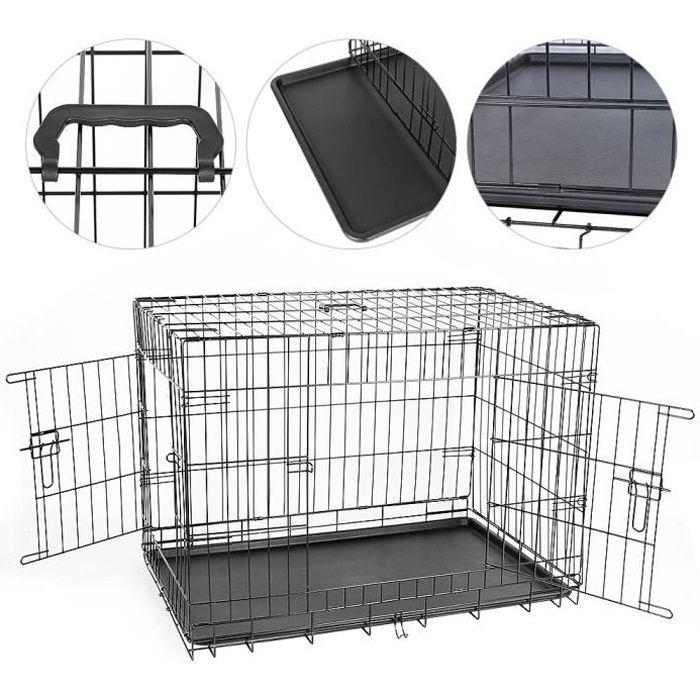 Caisse de transport - Taille XL - 106x76x71 cm - Cage métallique pour chien chat