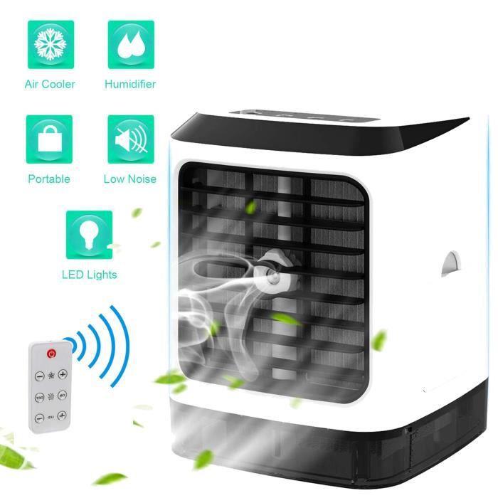 Climatiseur portatif avec Contrôle à distance,2019 Nouveau 4 en 1 Ventilateur Climatiseur Humidificateur bureau Mini ventilateur