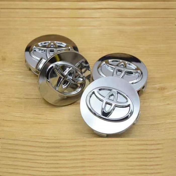 4 pièces Centre de roue, Toyota argent brillant 62mm,cache-moyeu avec Logo, pour Toyota Corolla Vios Reiz YARIS, CAMRY AURION RAV4