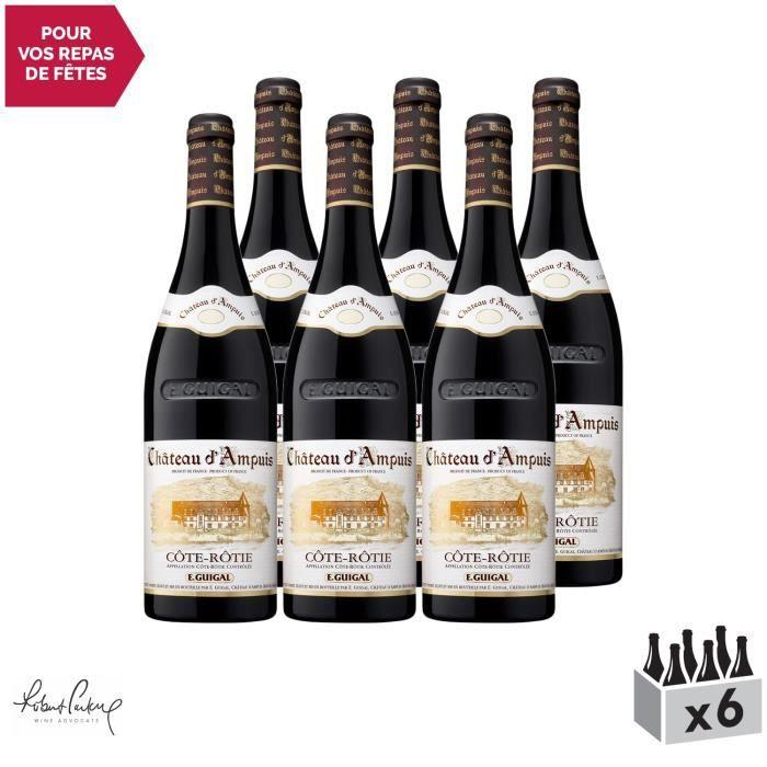 Côte Rôtie Château d'Ampuis Rouge 2016 - Lot de 6x75cl - Maison Guigal - Vin AOC Rouge de la Vallée du Rhône - 92-94-100 Robert