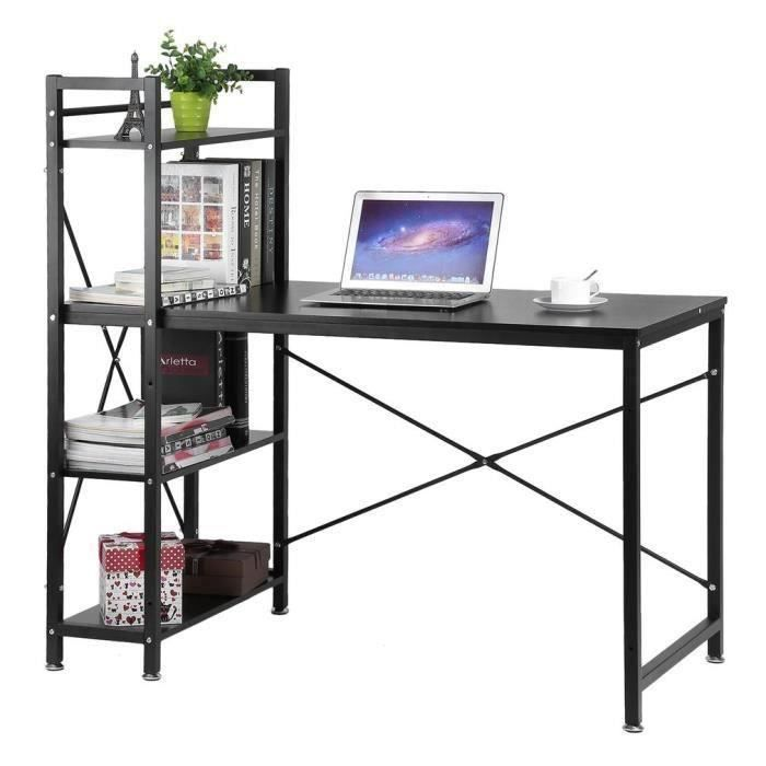 Table de bureau en bois et acier,Bureau d'ordinateur,Bureau informatique avec étagère - 120x64x120cm - noir