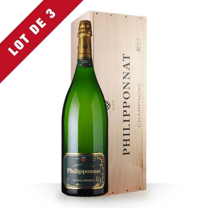 3X Philipponnat Royale Réserve Brut 300cl jéroboam - Coffret Bois - Champagne