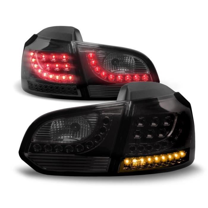 2 FEUX ARRIERE A LED VW GOLF 6 NOIR TRANSLUCIDE