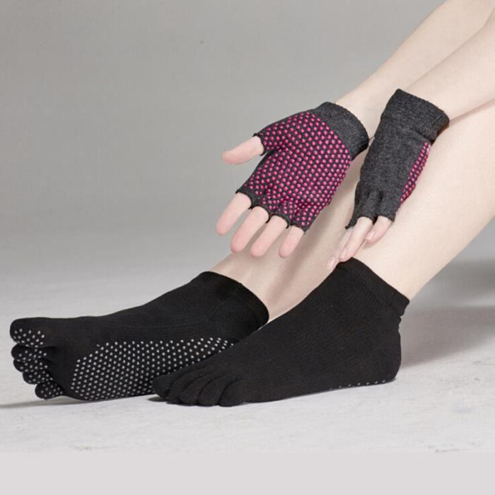 Chaussettes et gants de yoga antidérapants avec pois en silicone (noir) TAPIS DE SOL - TAPIS DE GYM - TAPIS DE YOGA