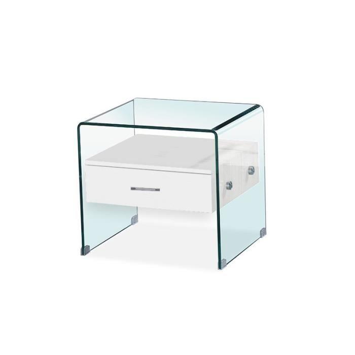 Table de chevet en verre ELSA - Blanc