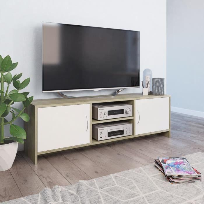 Luxueux Meuble TV Design - Meuble de rangement Meuble de Télévision Blanc et chêne sonoma 120 x 30 x 37,5 cm Aggloméré ♫14053