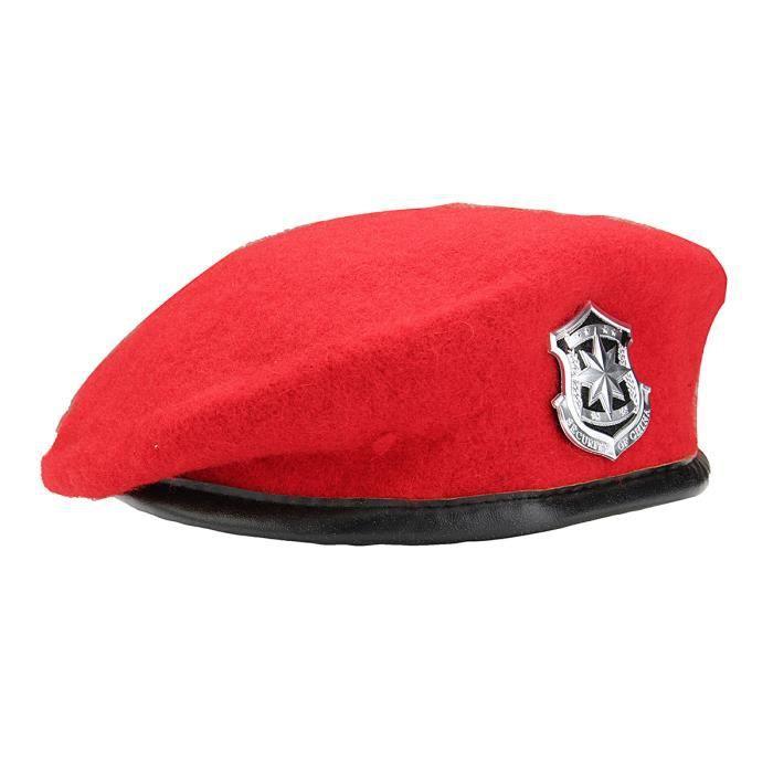 Béret Militaire Vintage Unisexe Rouge