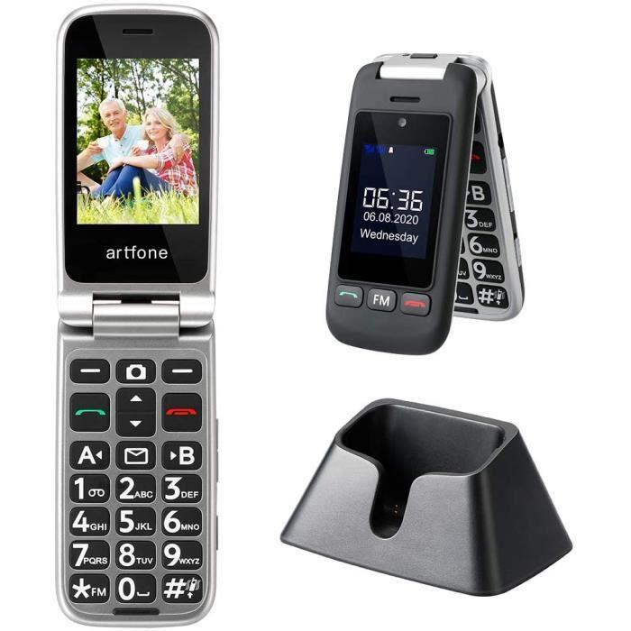 Artfone Téléphone Portable Senior à Clapet Débloqué, avec Grandes Touches, Bouton SOS, Haut Volume, Radio FM, Appareil Photo pour Pe
