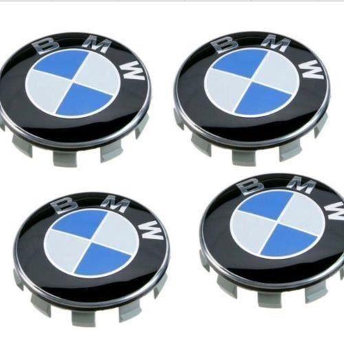 4 X CENTRE DE ROUES CACHE MOYEU BMW CLASSIQUE LOGO BLEU DIAMETRE 68 MM NEUF
