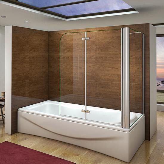 Pare baignoire 120X140cm, paroi de douche fixe 80x140cm, Pivotant à 180°,écran de baignoire 2 volets pivotants et pliants