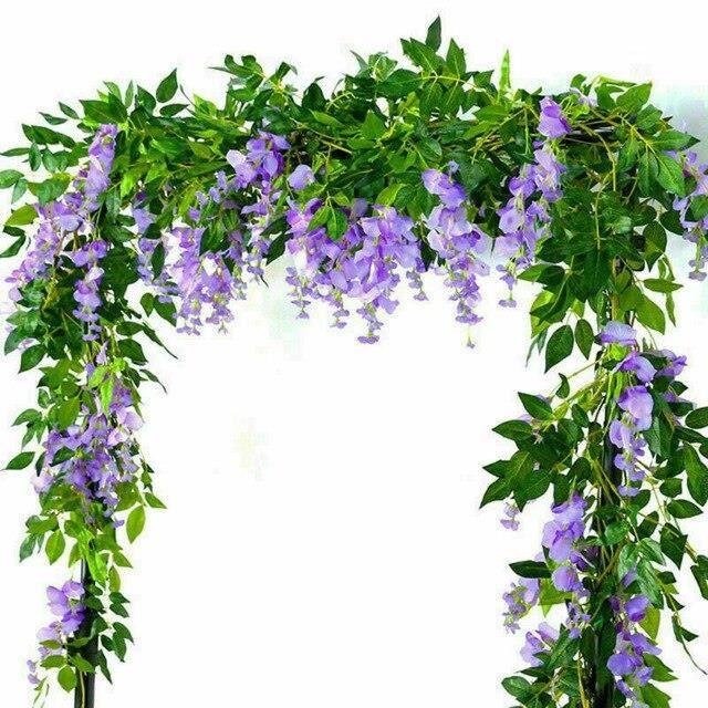 Guirlande de glycine artificielle 2x7 pieds, plantes de feuillage, fleurs traînées, décor extérieur pour maison, bureau, ES15849